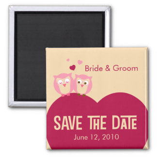 Save the Date 2 Owls on a Heart Square Magnet