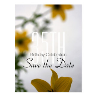 Save the Date 35th Birthday Spring Flowers Postcard