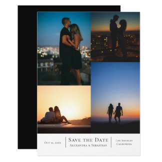 Save The Date 4 Photos Wedding Personalised Card