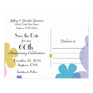 Save the Date 60th Anniversary Party Postcard