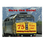 Save the Date 75th Birthday Party Postcard Train