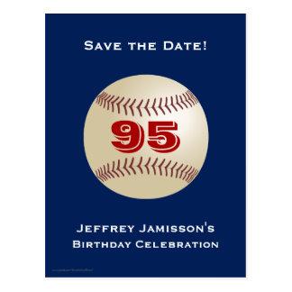 Save the Date 95th Birthday Baseball Postcard