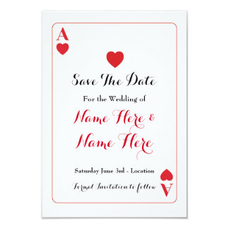 Save The Date Ace of Hearts Red Wedding Invite