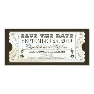 save the date admission tickets card