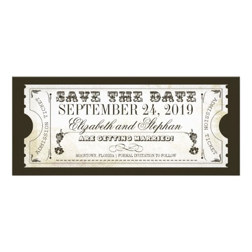 save the date admission tickets personalized invites