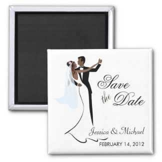 Save the Date  - African American Bride and Groom Square Magnet