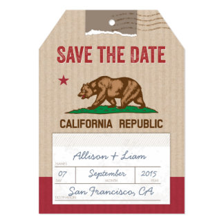 Save the Date Airmail Luggage Tag Card