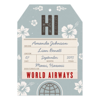 Save the Date Airmail Luggage Tag Hawaii in blue Card