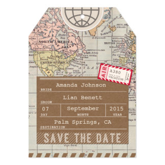 Save the Date Airmail Luggage Tag World Map 13 Cm X 18 Cm Invitation Card