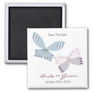 Save The Date and Butterflies Square Magnet