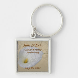 save the date anniversary key chain,  dew drop lil Silver-Colored square key ring