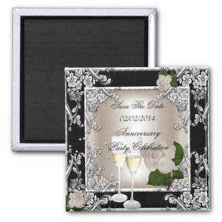 Save The Date Anniversary Wedding Cream Black Square Magnet