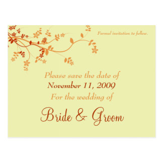 Save The Date Announcement - Warm Autumn Postcard