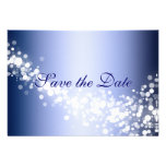 Save the Date Announcement Winter Blue Sparkles