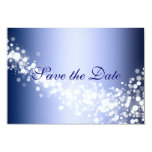 "Save the Date Announcement Winter Blue Sparkles 3.5"" X 5"" Invitation Card"