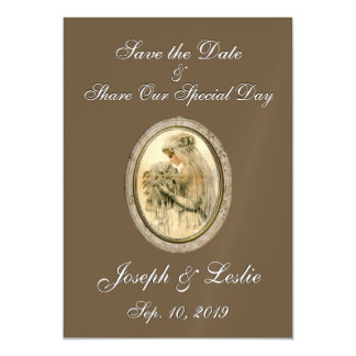 Save the Date Antique Bride Chocolate Magnetic Invitations