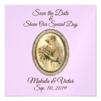 Save the Date Antique Bride Magnetic Card