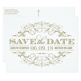 Save the Date | Antique Gold and White Flourish Card