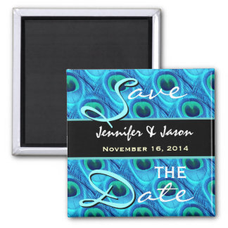 Save the Date Aqua and Cobalt Peacock Feathers Square Magnet