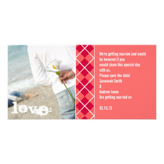 Save the Date Argyle Invitation Photo Cards