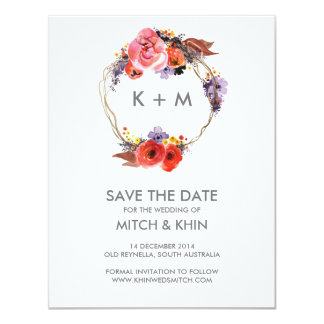 Save the Date Autumn Floral Wreath 11 Cm X 14 Cm Invitation Card
