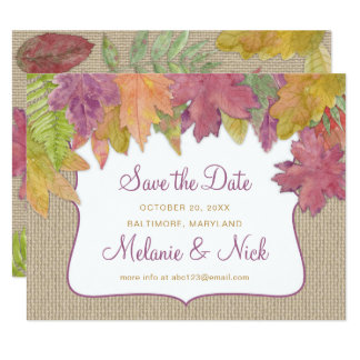 Save the Date, Autumn Leaf rustic fall leaves 3973 Card