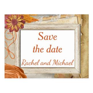 Save the date Autumn Wedding Postcard