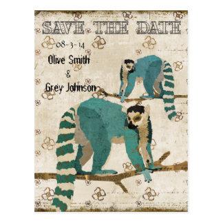 Save the Date Azure Lemurs Postcard