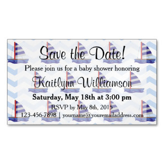 Save the Date Baby Shower Sail Boats Magnetic Card Magnetic Business Cards