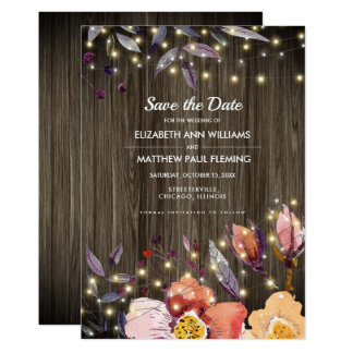 Save the Date. Barn Wood | Autumn Flowers Cards