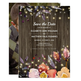 Save the Date. Barn Wood Autumn Flowers Photocards Card