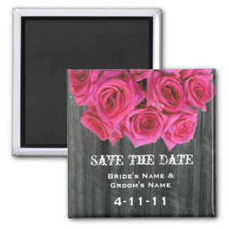 Save The Date - Barnwood & Hot Pink Roses Square Magnet