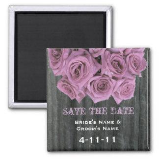 Save The Date - Barnwood & Pink Roses Fridge Magnet
