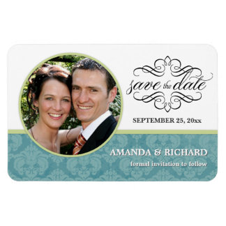 Save the Date - Barorque Blue Damask Photo Magnets