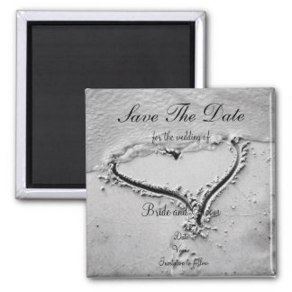 Save the Date Beach Heart Square Magnet