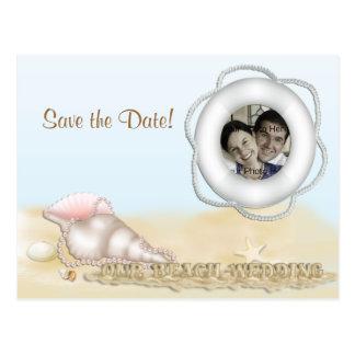 Save the Date Beach Photo Postcard