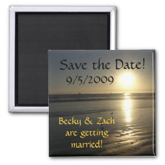 Save the Date Beach Sunset Magnet