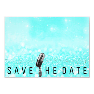 Save The Date Beach Tiffany Glitter Microfone Card
