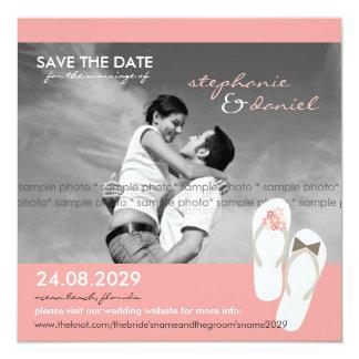 Save The Date Beach Wedding Flip Flops Daisies 13 Cm X 13 Cm Square Invitation Card