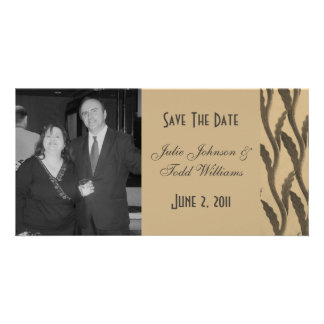 Save the Date Biege Brown Branches Photo Card