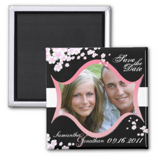 Save the Date Black & White Cherry Blossoms Magnet