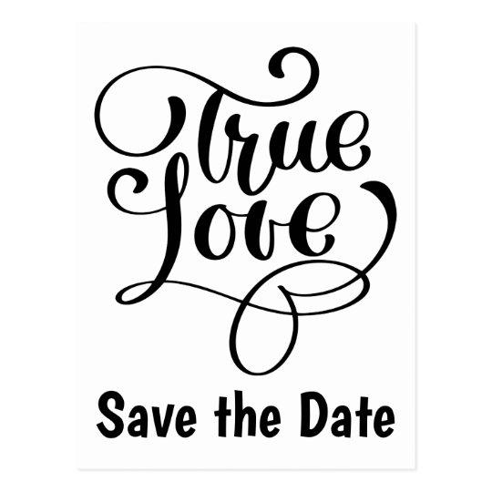 Save the Date Black White Love Wedding Engagement Postcard