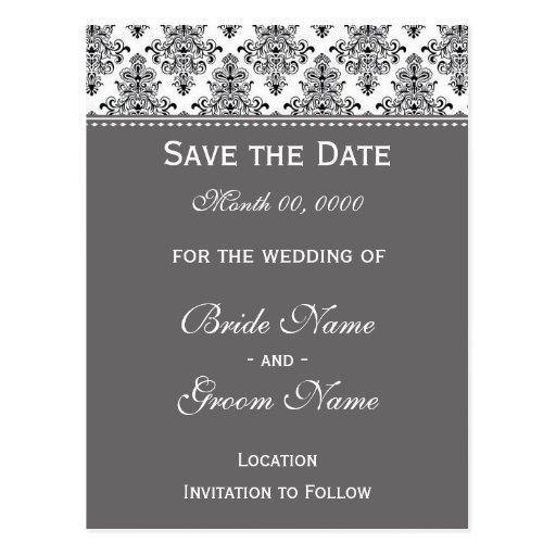 Save the Date - Black & White & Silver Postcard