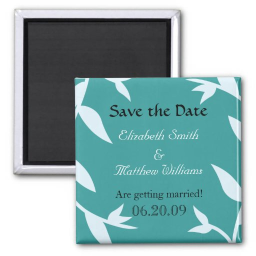 Save the Date Blue 2 Vines Magnet
