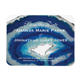 Save the Date | Blue Agate Stone Magnet