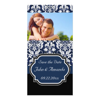 Save the Date ~ Blue and Black Damask Photo Card Template