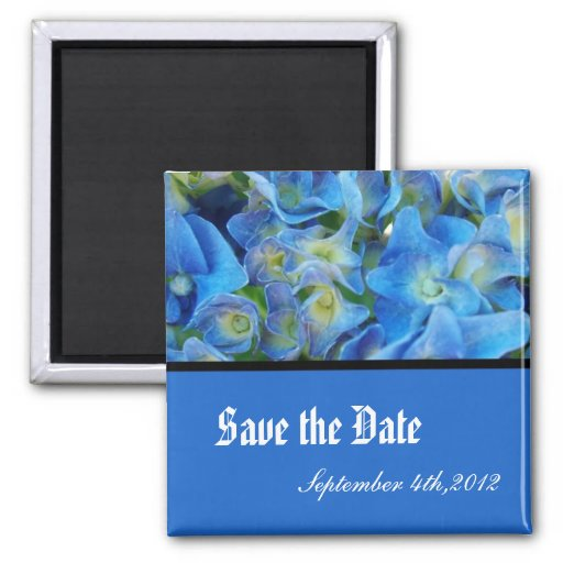 save the date, blue hydrangea flowers refrigerator magnets