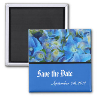 save the date, blue hydrangea flowers square magnet