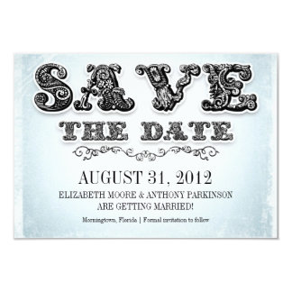save the date blue vintage invitations