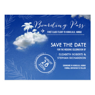 Save the Date Boarding Pass Tickets Postcard